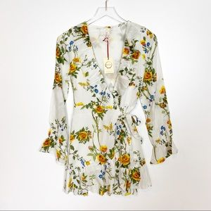 RAGA Floral Wrap Ruffle Blouse Size Small Large